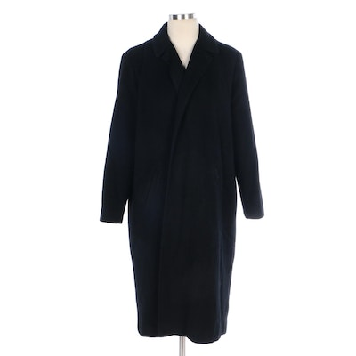 Union Made Black Cashmere Open-Front Coat with Notched Lapel
