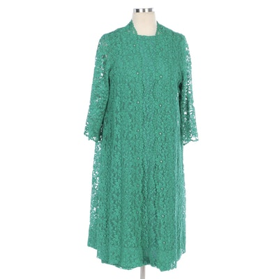 Dress Suit in Green Floral Lace and Rhinestone Embellishments
