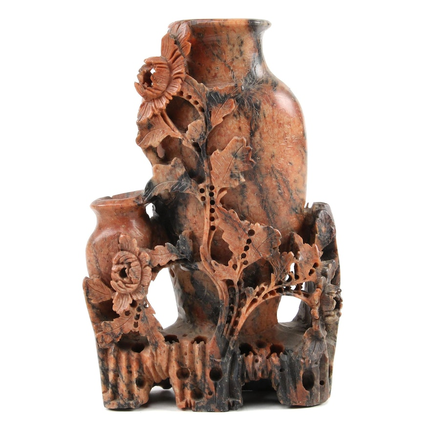 Chinese Carved Soapstone Vase with Floral Motif, Mid-20th Century