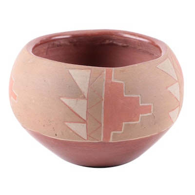San Juan Pueblo Incised and Polychrome Earthenware Bowl, Mid-20th Century