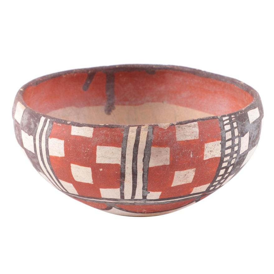 Pueblo Polychrome Earthenware Bowl, Probably Isleta, Mid-20th Century