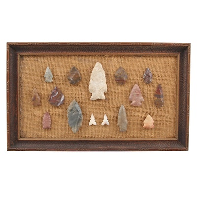 Framed North American Knapped Stone Projectile Points and Arrowheads