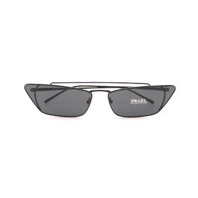 Prada SPR64U Narrow Butterfly Sunglasses in Black with Case
