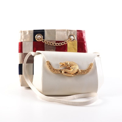 Marlo and Mister Ernest Woven and Leather Shoulder Bags