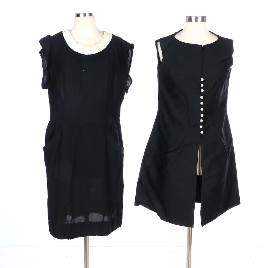 Gloria Swanson Sequin Neckline Dress and Tunic Vest with Embellished Buttons