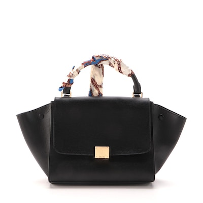 Céline Small Trapeze Bag Black Leather with Scarf