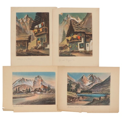 Hermann Richter Landscape and Architectural Pastel Drawings