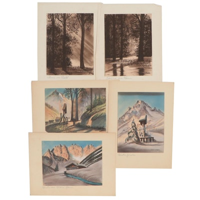 Hermann Richter Landscape Pastel Drawings, Early-Mid-20th Century