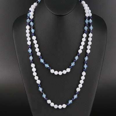 Lapis Lazuli, Quartzite and Chalcedony Bead Necklace with Sterling Clasp