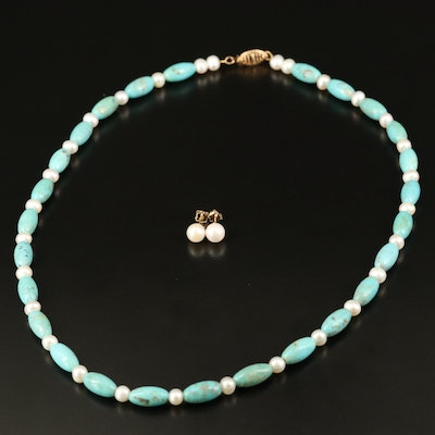 14K Pearl Stud Earrings and Turuqoise Necklace with 10K Clasp