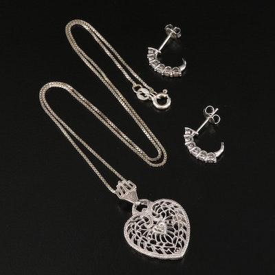 Sterling Silver Diamond Openwork Heart Pendant and J Hoop Earrings