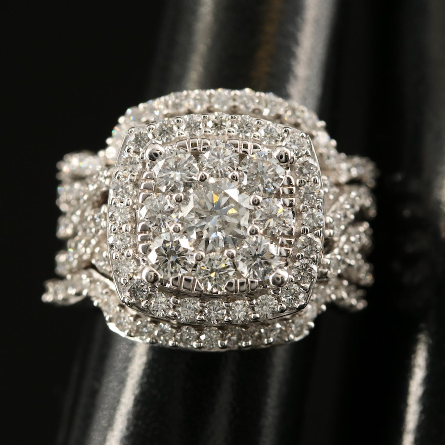 14K 2.73 CTW Diamond Ring and Shadow Bands Set