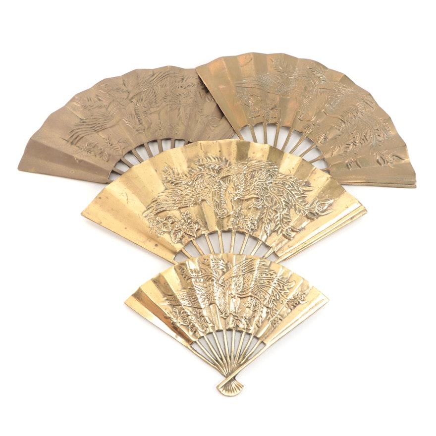 Leonard Silver Mfg. Co. Solid Brass Raised Phoenix Decorative Fans