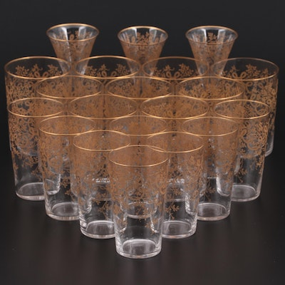 Bohemian Style Gold Enameled Etched Glass Tumblers and Sherry Glasses