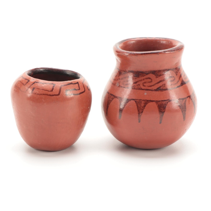 Maricopa Black-on-Red Earthenware Jars, Mid-20th Century