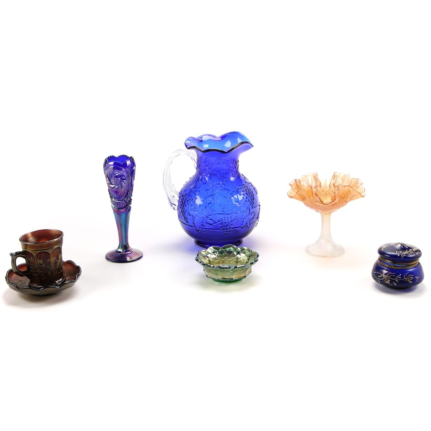 """Northwood """"Peacock at the Fountain"""" Cup and Saucer with Other Glass Tableware"""