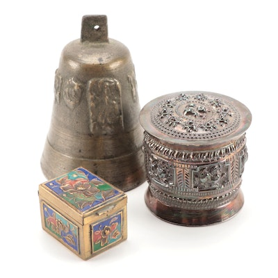 Chinese Enameled Brass Stamp Box with Persian Repoussé Trinket Box and More