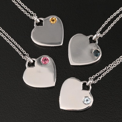 Sterling Mixed Gem Heart Pendant Necklaces