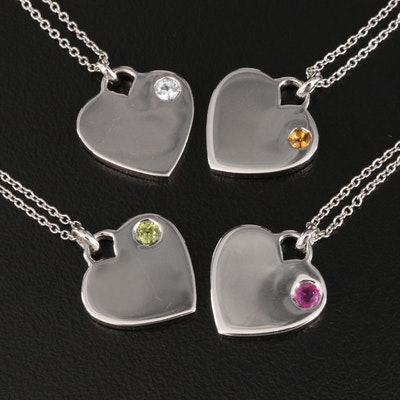 Sterling Ruby, Citrine, Peridot and White Sapphire Heart Pendant Necklaces