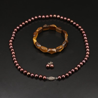 Pearl Necklace and Stud Earring Set with Tiger's Eye Bracelet
