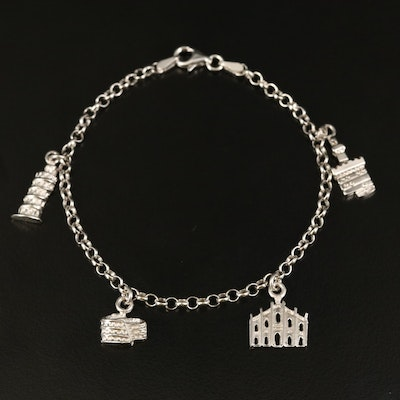 14K Charm Bracelet with Leaning Tower of Pisa and Roman Colosseum Charms