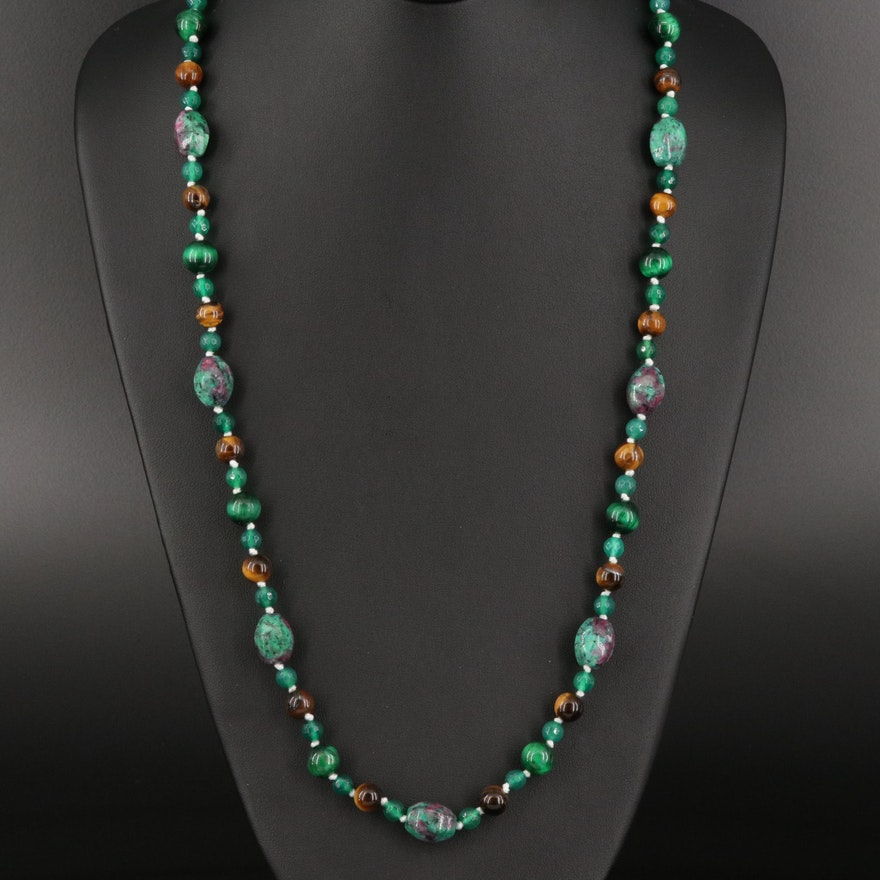 Tiger's Eye, Chalcedony and Ruby in Zoisite Bead Necklace with Sterling Clasp