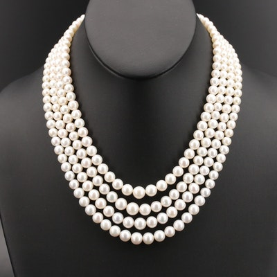 Graduated Pearl Multi-Strand Necklace with 14K Clasp