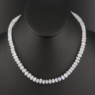 Moonstone and Tanzanite Bead Necklace with 14K Clasp