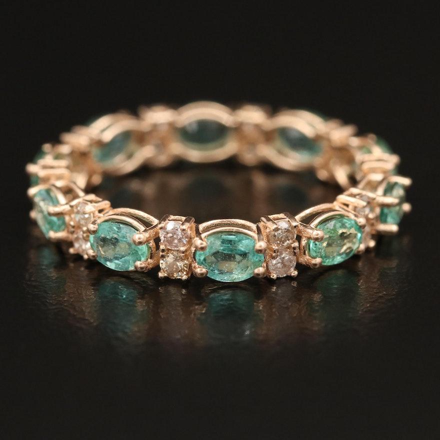 14K Emerald and Diamond Eternity Band