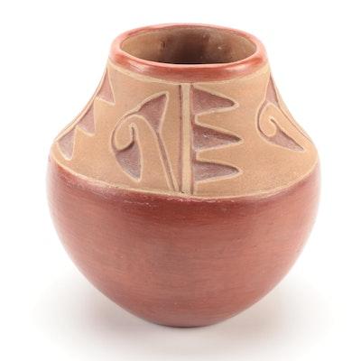 Tomasita Montoya Ohkay Owingeh Carved Earthenware Jar, Mid-20th Century