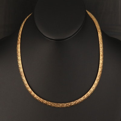 Veronese Italian Sterling Textured Omega Chain Necklace