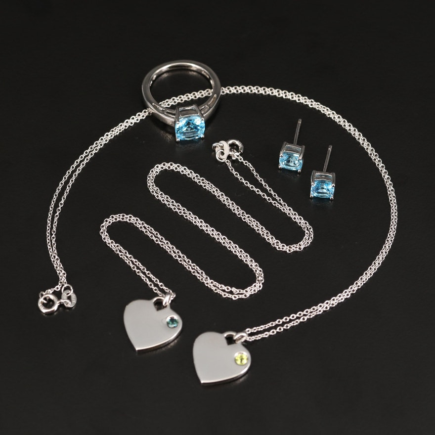 Sterling Peridot and Topaz Jewelry Including Heart Necklaces
