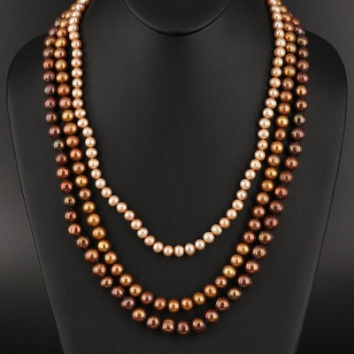 Pearl Triple Strand Necklace with 14K Clasp