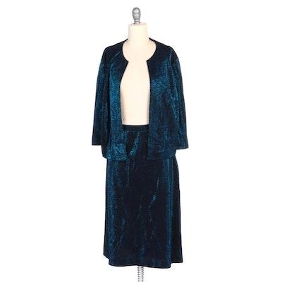 Metallic Blue Knit Skirt Set