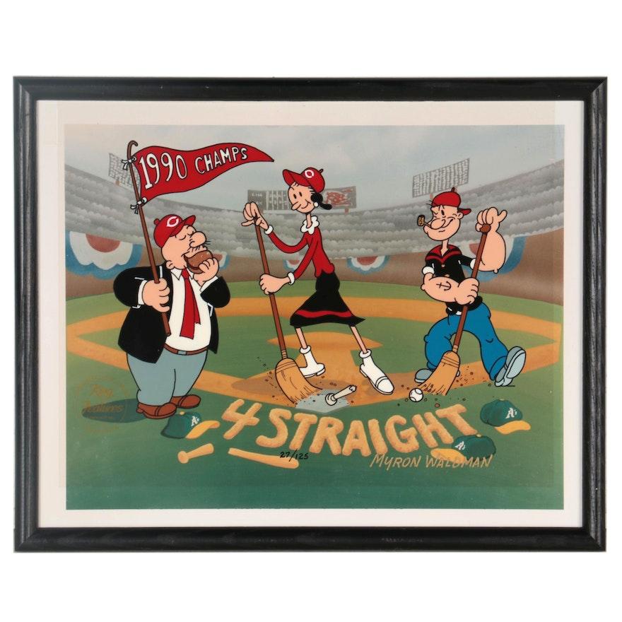 "Myron Waldman Popeye Animation Cel ""Clean Sweep,"" Late 20th Century"