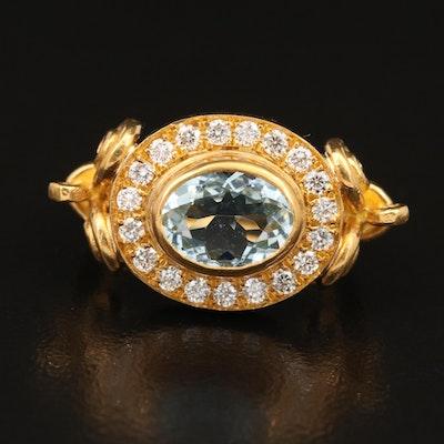 Cevherun 24K Bezel Set Aquamarine and Diamond Ring