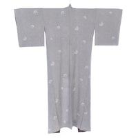 Sakura and Kanoko Patterned Silk Kimono with Fabric Remnant and Tato-shi Paper