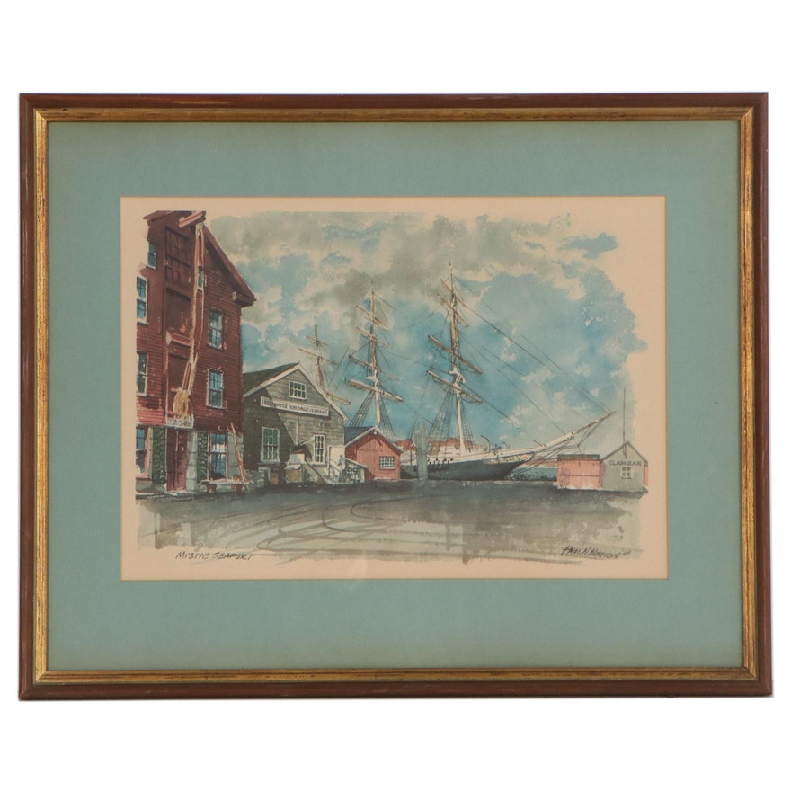 """Offset Lithograph after Paul N. Norton """"Mystic Seaport,"""" Late 20th Century"""