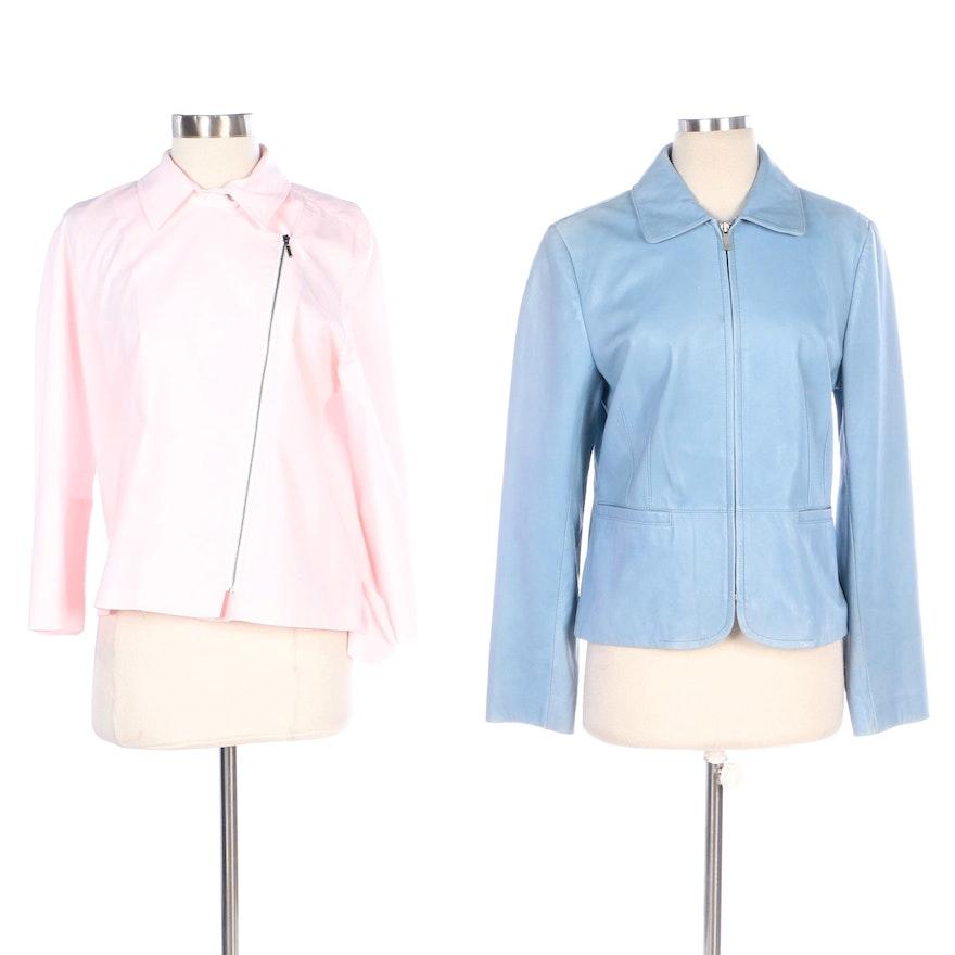 Ann Taylor Jacket in Blue Leather with Finley Side-Zip Shirt in Pink Poplin