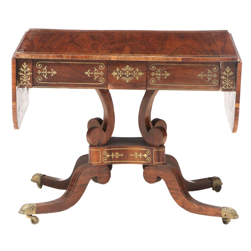 Regency Brass Inlaid Rosewood Sofa Table, Early 19th Century