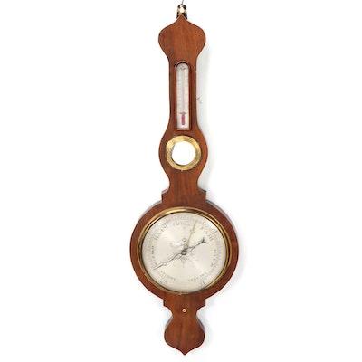 Mahogany Onion Top Wheel Barometer, Early to Mid 19th Century