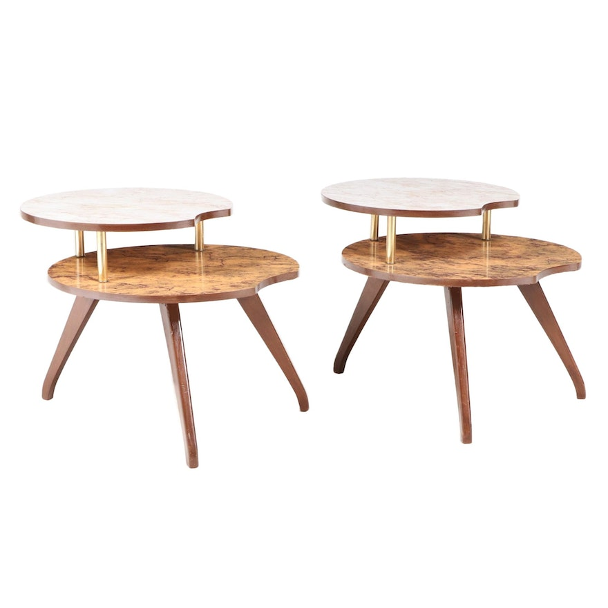Pair of Mid Century Modern Laminate Top Two-Tier Side Tables