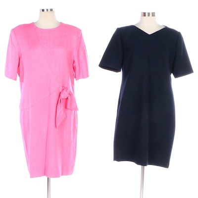 William Pearson Navy and Pink Short Sleeve Cocktail Dresses
