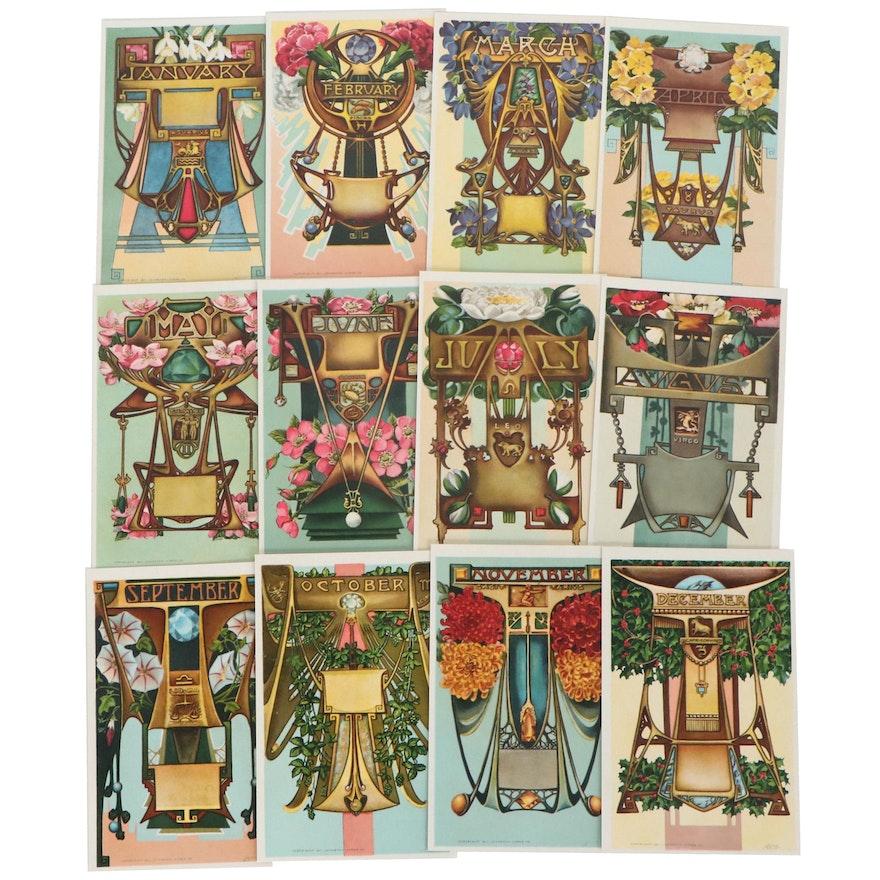 Johnston Ayers Art Nouveau Offset Lithograph Zodiac Birthstone Postcards