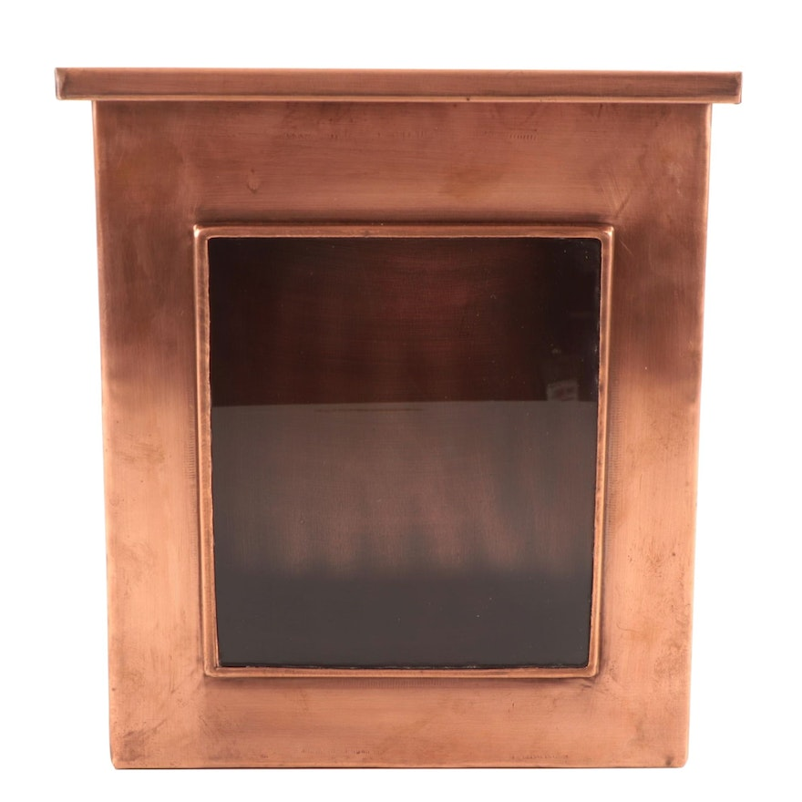 Vertical Copper Wall-Mounted Mailbox with Window