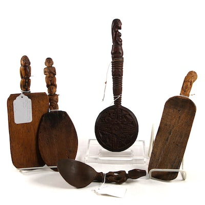 Indonesian Hand-Carved Figural Handled Wooden Rice Paddles and More