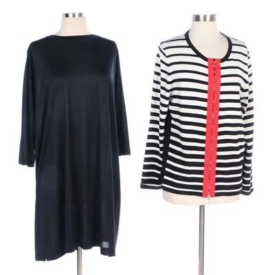 Linda Dresner Black Silk Dress with Katherine Barclay Striped Shirt