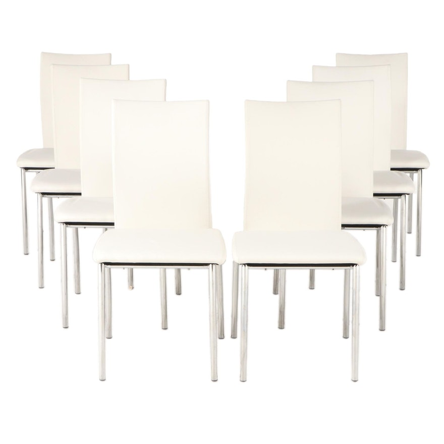Eight Chrome and Faux Leather Dining Side Chairs