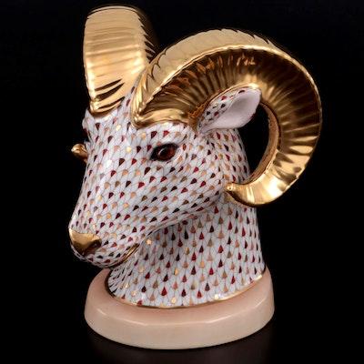 "Herend Limited Edition Mosaic Fishnet ""Ram Bust"" Porcelain Figurine"