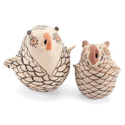 Nellie Bica Zuni Owl Figure and Sarah Garcia Acoma Owl Figure